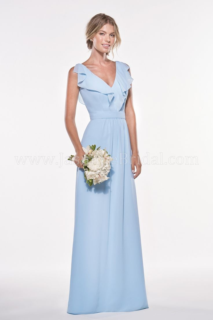 50 best spring 2017 bridesmaids images on pinterest bridal gowns shop jasmine this bridesmaid dress features georgette with a v neckline and v back with ruffled trim and an inset waistband in an a line silhouette ombrellifo Images