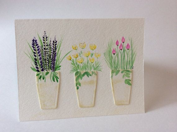 Watercolor Lavender, Mums and Chives all occasion greeting card, Hand-painted flowers in pots, Blank garden note card