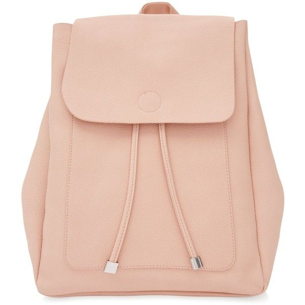 New Look Pink Leather-Look Backpack (£19.99) liked on Polyvore featuring bags, backpacks, backpack, pink, handle bag, draw string bag, fake leather backpack, faux leather drawstring backpack and drawstring backpacks