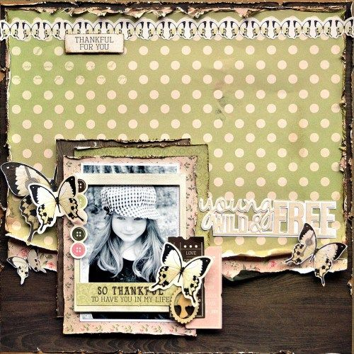 'Young Wild & Free' layout by Belinda Spencer DT Kaisercraft using 'Mademoiselle' collection ~ Scrapbook Layouts.