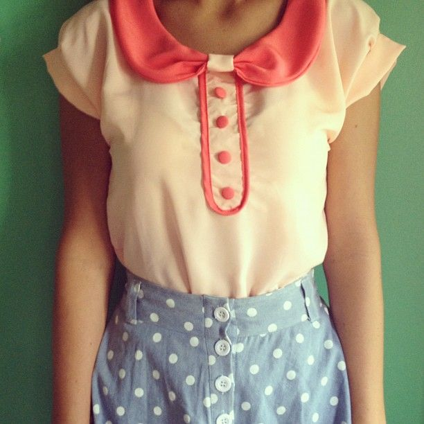 I want to wear this:): Fashion, Polka Dot Skirts, College Students, Style, Polkadot, Beautiful Skirts, Colored Collar, Webstagram