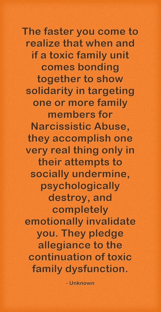 The faster you come to realize that when and if a toxic family unit comes bonding together to show solidarity in targeting one or more family members for Narcissistic Abuse, they accomplish one very real thing only in their attempts to socially undermine, psychologically destroy, and completely emotionally invalidate you. They pledge allegiance to the continuation of toxic family dysfunction.