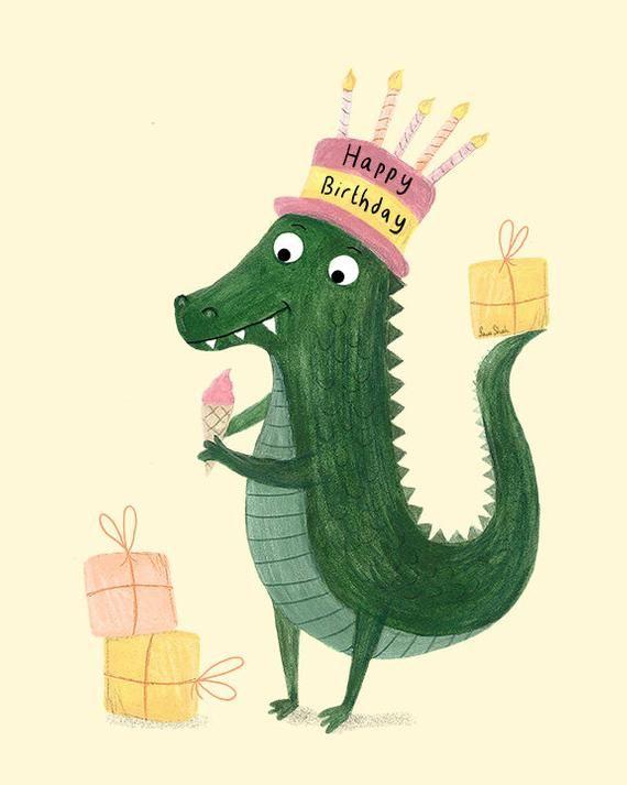 Crocodile card birthday card blank card alligator