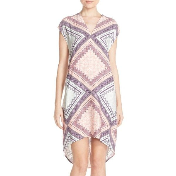 Charlie Jade Print Crepe High/Low Shift Dress ($148) ❤ liked on Polyvore featuring dresses, scarf print dress, pastel dresses, print dress, v-neck dresses and pink cap sleeve dress
