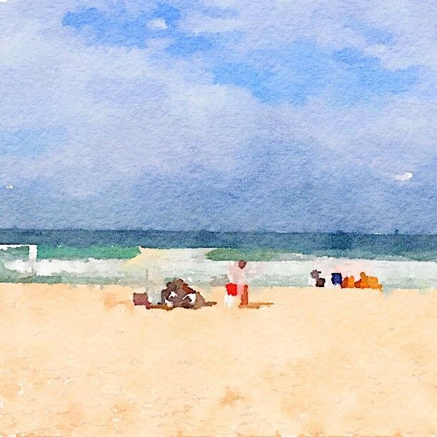 Beach in Manly today. Reminds me of my childhood. #beach #austraila #manly #watercolour #sunshine #joy #happiness