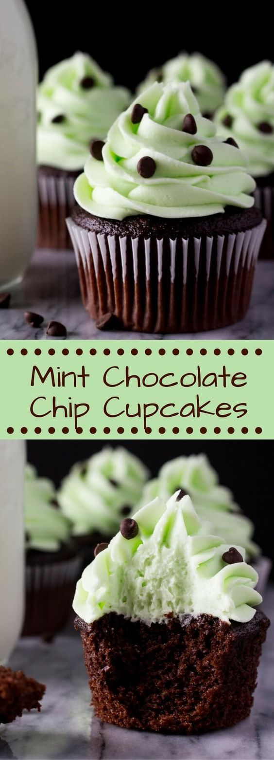Super soft Chocolate Cupcakes topped with creamy Mint Frosting. If you love Mint Chip Ice Cream - try these Mint Chocolate Cupcakes