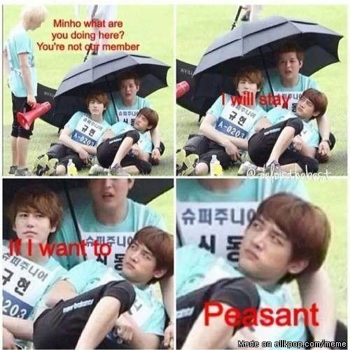 "Shinee/Super Junior | Minho ""peasant"" haha"