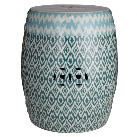 Blue Ikat Porcelain Stool