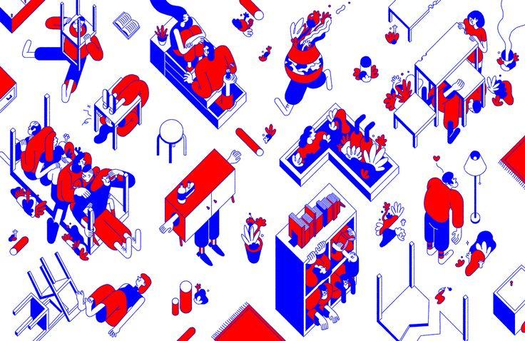 Nicolas Menard Ménard Furniture Characters Design Red Blue Illustration