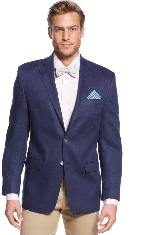 $119, Navy Blazer: Lauren Ralph Lauren Solid Linen Sport Coat. Sold by Macy's. Click for more info: https://lookastic.com/men/shop_items/155788/redirect