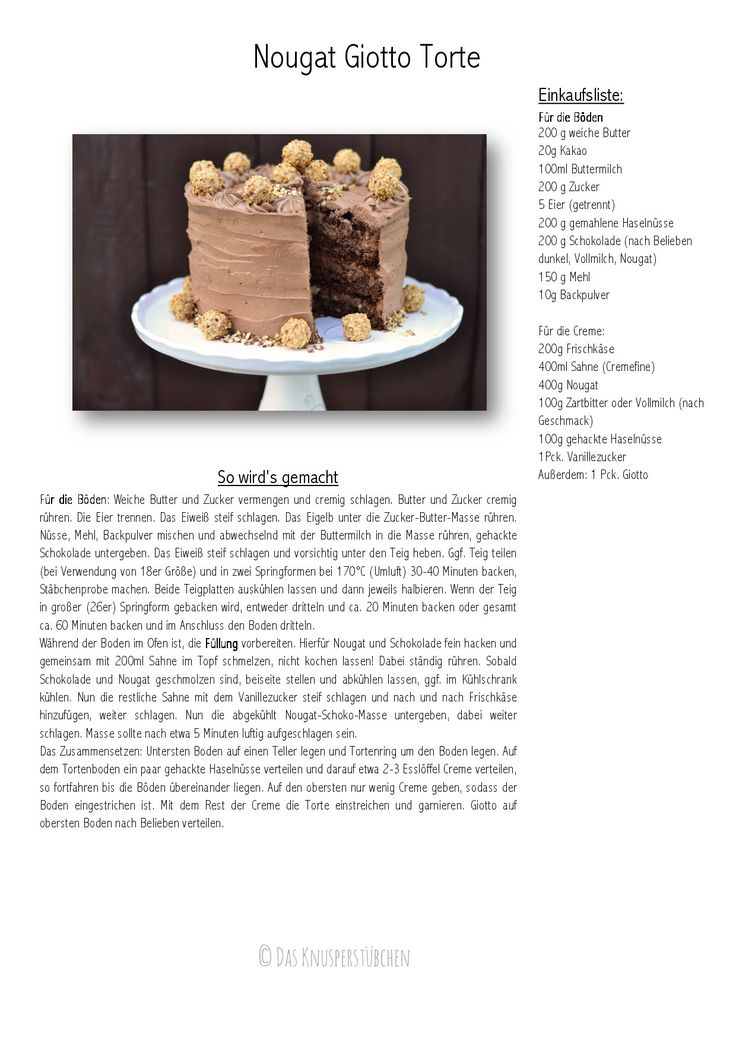 Nougat Giotto Torte Rezept
