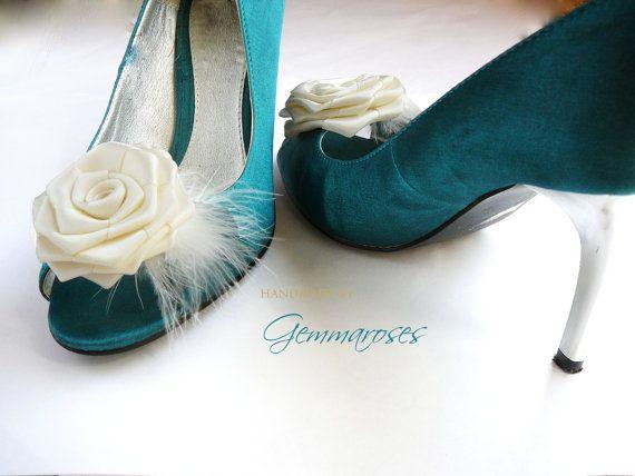 White shoe clips