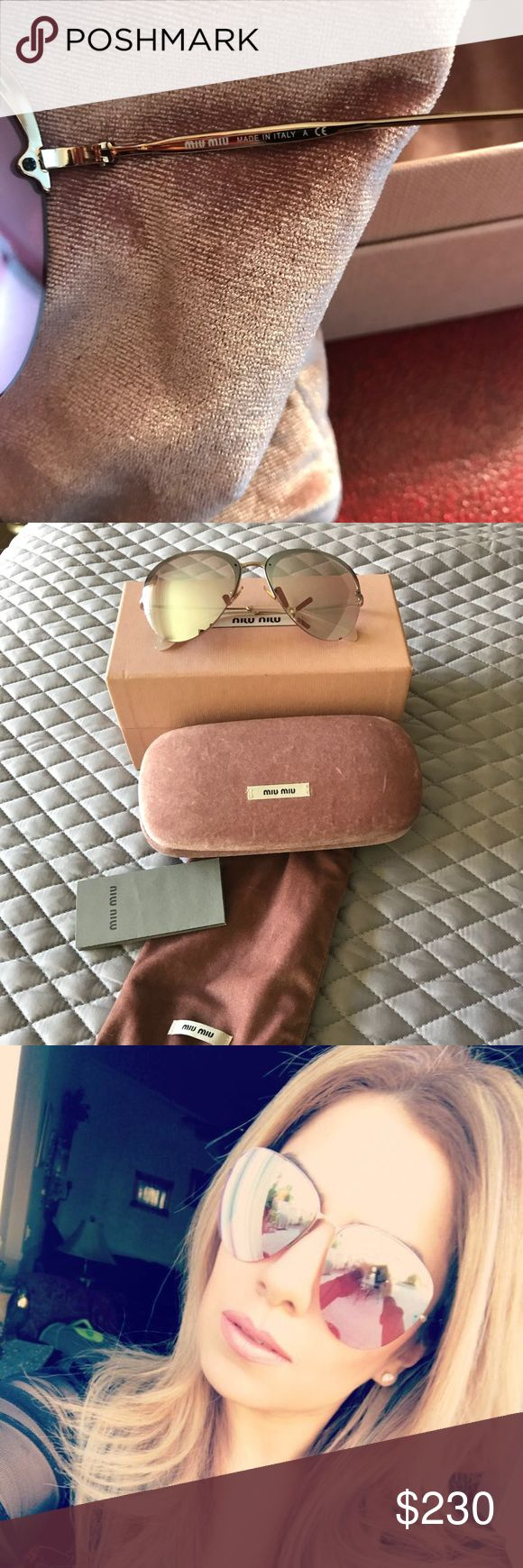 Miu Miu SMU 53P Womens Aviator Sunglasses BRAND: MIU MIU MODEL: SMU 53P ZVN-2D2 CONDITION: BRAND NEW WITH ORIGINAL MIU MIU HARD PINK CASE, DUSTY BAG, AND CLEANING CLOTH SIZE: 60/15/140 MM COLOR CODE: 3N ( ANTIQUE GOLD FRAME MATERIAL: METAL & PLASTIC  FRAME COLOR: PALE GOLD FRAME SHAPE: AVIATOR LENS COLOR: LIGHT PINK GOLD MIRROR LENS TECHNOLOGY : MIRRORED GENDER: WOMEN COUNTRY OF MANUFACTURE: ITALY Miu Miu Accessories Sunglasses
