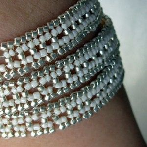 Ivory Cream and Silver Beadwoven Wrap Bracelet | Jewelry Inspiration