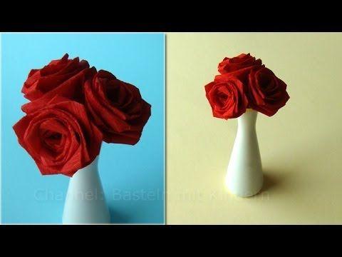 Basteln mit Kindern: Rosen basteln - Blumen falten z.B. Muttertagsgeschenke - YouTube