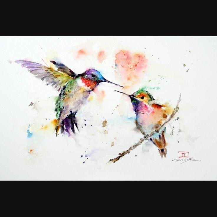 HUMMINGBIRDS 8 x 12 Watercolor Print by Dean Crouser. $25.00, via Etsy.