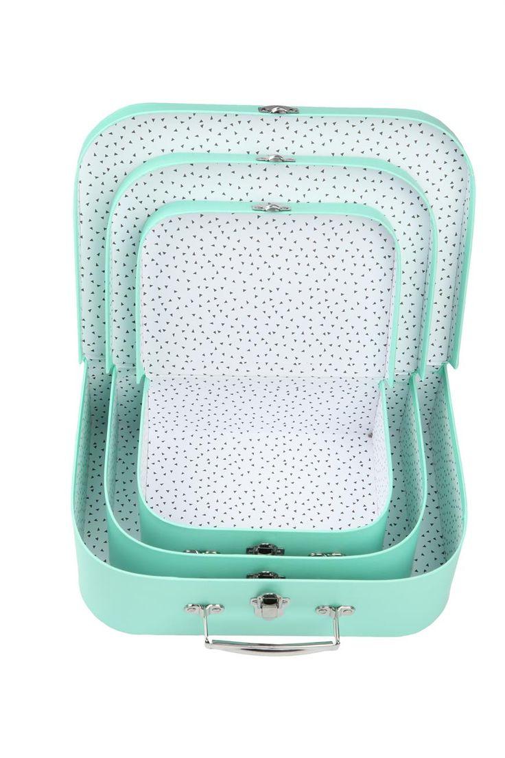 suitcase storage set, BLUE & WHITE