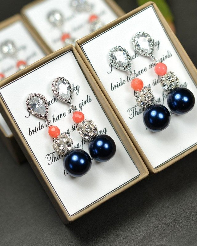 navy blue coral Wedding Jewelry Bridesmaid by thefabbridaljewelry, $29.99