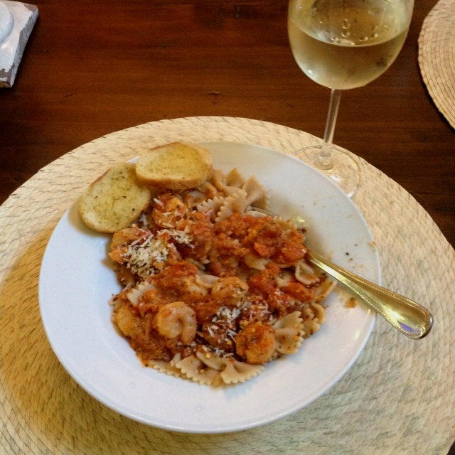Cooking Light cookbook.... homemade tomato sauce with shrimp on whole ...