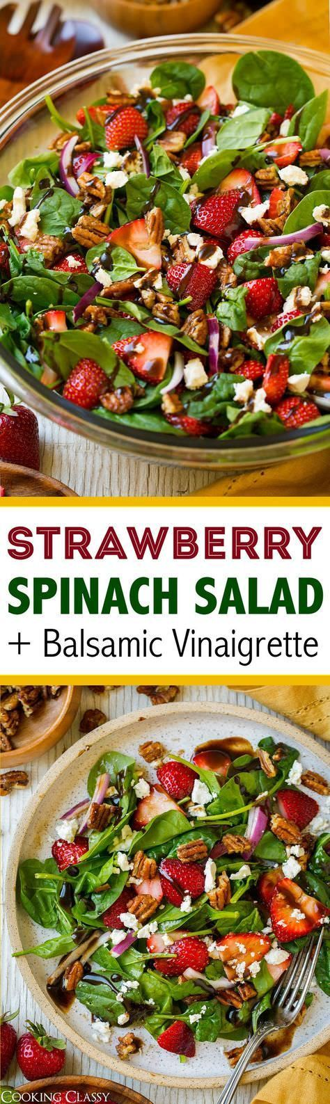 Made with fresh spinach and strawberries, crunchy candied pecans, salty tangy feta, red onion and a delicious balsamic vinaigrette. A perfect summer salad!