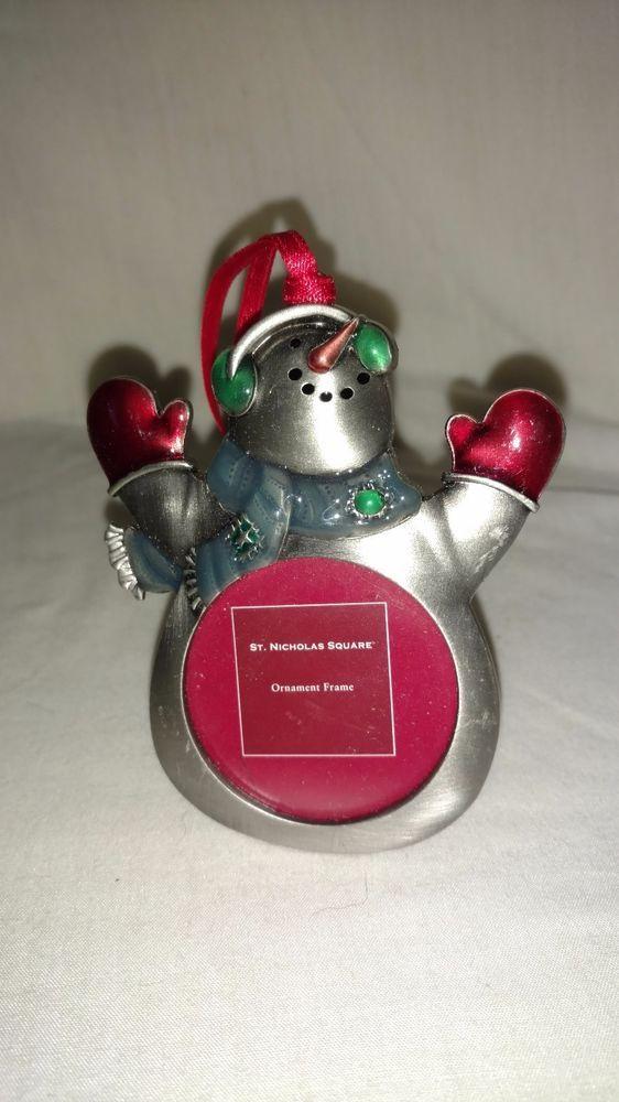 St Nicholas Square Christmas Snowman Picture Frame Ornament