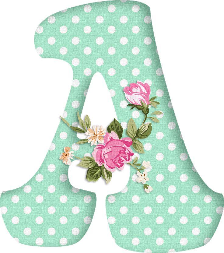 PAPIROLAS COLORIDAS: Abecedario con flores. Letras mayúsculas verdes, puntos blancos. Letra A. Vocal.