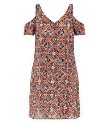 Brown Tile Print Cold Shoulder V Neck Tunic Dress