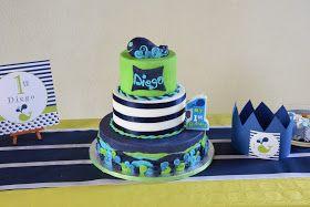 Torta balena blu, bianca e lime. #whale cake