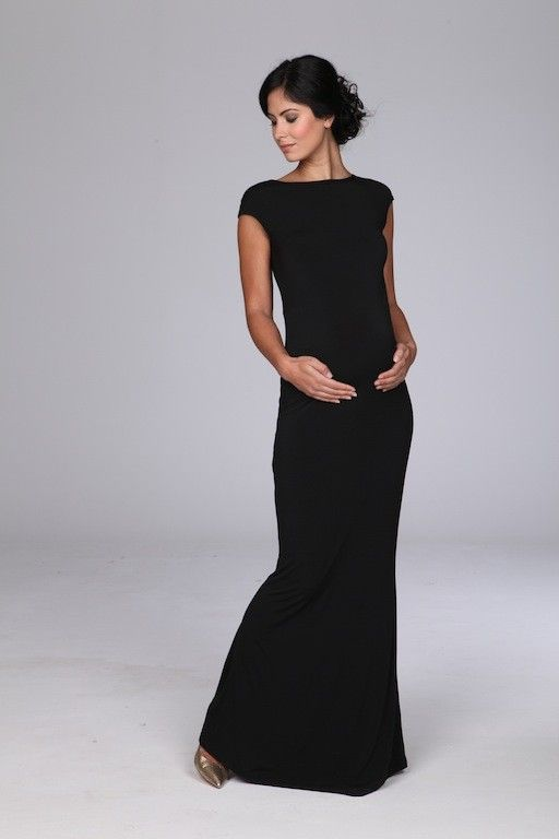 Cap Sleeve Black Maxi Dress.