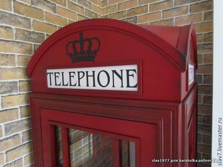 Купить Лондонская телефонная будка-шкаф. - бордовый, декор для интерьера, дерево, шкаф
