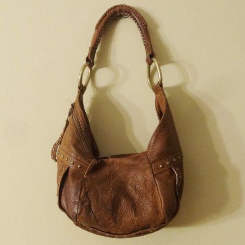 Kenneth Cole Brown Leather Shoulder Hobo Bag. Bronze Studs Handbag ...