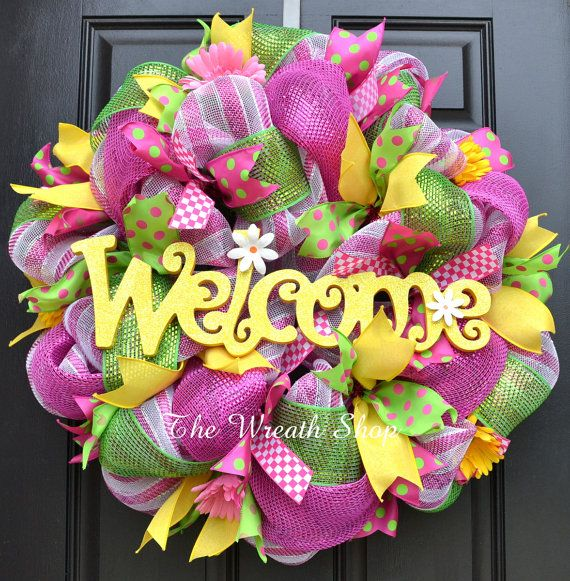 Spring/Summer Welcome Wreath in Pink Green by CreationsbySaraJane