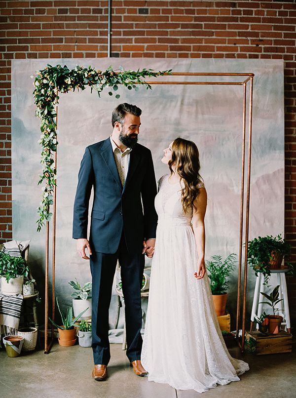 copper wedding ideas - photo by Milton Photography http://ruffledblog.com/industrial-greenhouse-wedding-ideas