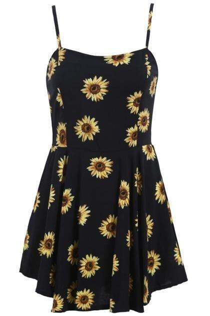 Affordable Summer Dresses | Romwe spaghetti strap sunflower dress