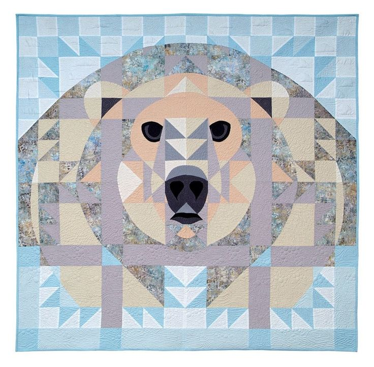 Ice Bear, animal quilt, quilt block, polar bear, quilting, quilts, quilt pattern