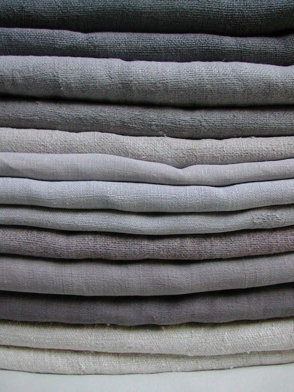 Shades of grey French 19th century dyed linen and hemp sheets from Altes Bauernleinen