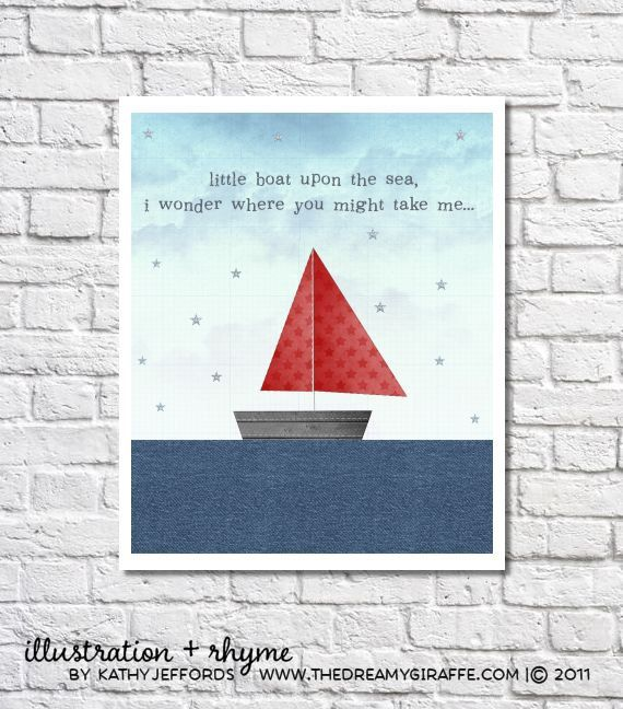 Red And Blue Little Boat On The Sea Print. by thedreamygiraffe