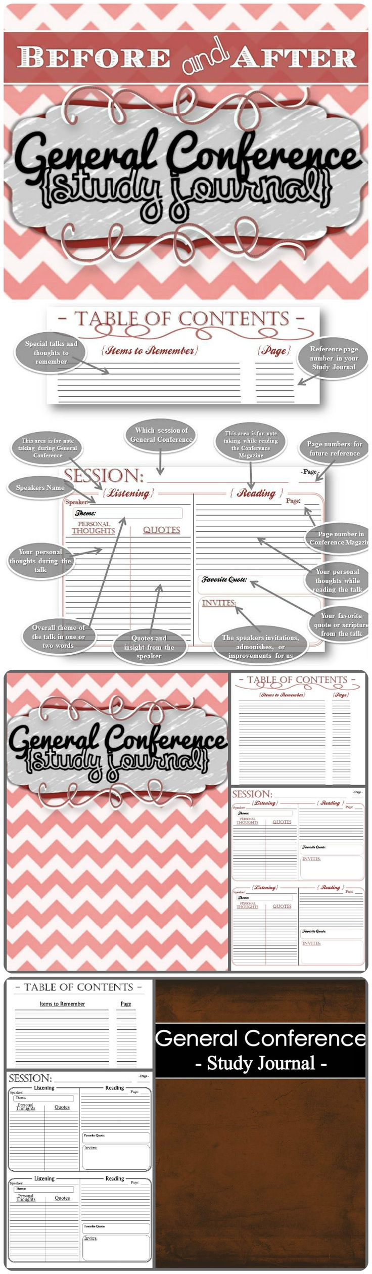 All your notes in an all-in-one notebook, along with all the usual writing prompts and referencing. There is a section for taking notes DURING General Conference and a section for taking notes AFTER General Conference; (reading the talks, preparing a lesson, etc.) Two cover choices and four styles included for $1.49.