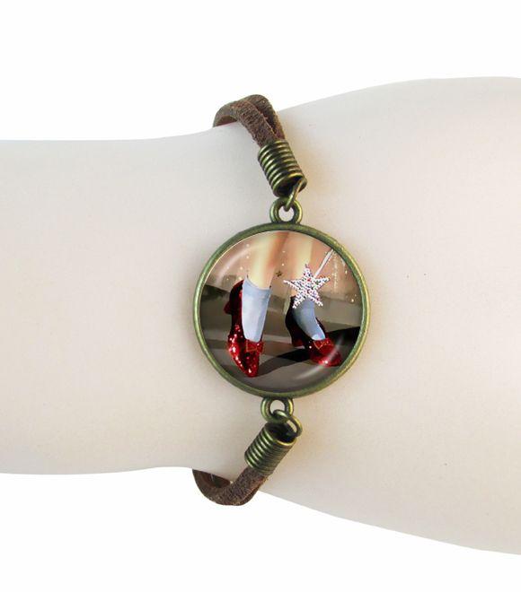 Ruby Тапочки Oz браслеты красный танцевальная обувь ювелирные изделия из замши кожаный браслет Волшебник из Страны Оз ювелирные изделия браун сеть стеклянные браслеты 2016
