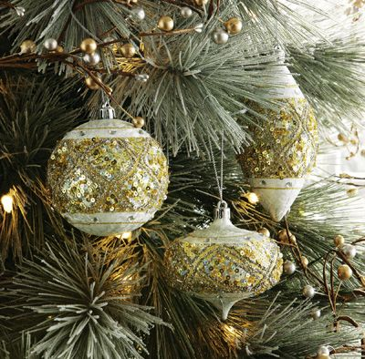 Frosted Gold & Silver Sparkled Christmas Ornament Set