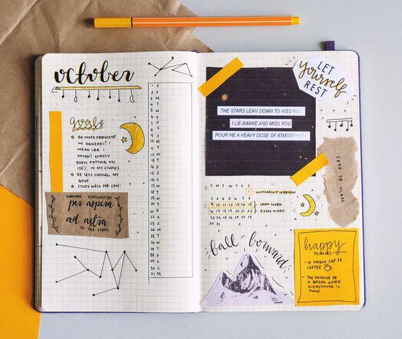 Calendario mensual: tareas pendientes, metas. Con recortes, pegatinas o garabatos, creatividad mensual :).