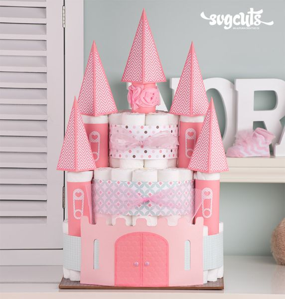 ♔ TINY MIRACLE CASTLE DIAPER CAKE FROM TINY MIRACLE SVG KIT | OTHER PIECES ARE INCLUDED IN KIT, FOLLOW LINK FOR TUTORIAL ON ALL THE PIECES INCLUDED IN KIT.  KIT IS $7 FROM SVGCUTS.COM  #CRICUT, #CRICUTEXPLORE   https://www.pinterest.com/moonshooter1