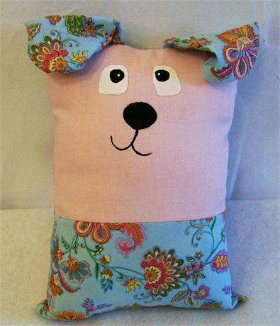 Kids Sleep and Blue Floral Puppy Pillow Buddy, Gift for Kids, Toys for Kids   This little puppy pillow can be a play buddy, a sleep buddy, a tag along comfy pillow or most any kind of toy you want it to be.   This little pillow is 9 tall and 6 wide not including the ears.   Just the right size for little hands and arms to wrap around and hug.   This would make a great gift for any little one. If you like it but not the colors just let me know the colors you want and I can make it for you…