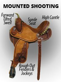 MOUNTED SHOOTING   Forward tilted swell to give you more room to draw your guns. High cantle for extra security. Suede Seat to hold you in place. Roughout fenders and jockeys for extra stability. Light weight.-SR