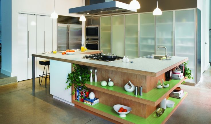 Add colour to the kitchen - love the pop of Formica Mint Dotscreen!