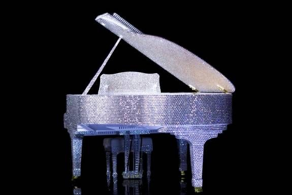 Steinway & Sons scale model of a crystal-embellished grand piano