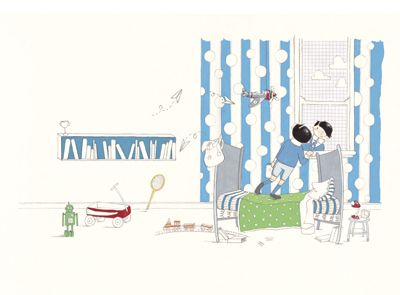 'Max's Bedroom' signed limited edition print by Sue de Gennaro, from her picture book 'Max and George'. Available from Books Illustrated. http://www.booksillustrated.com.au/bi_prints_indiv.php?id=74&image_id=453