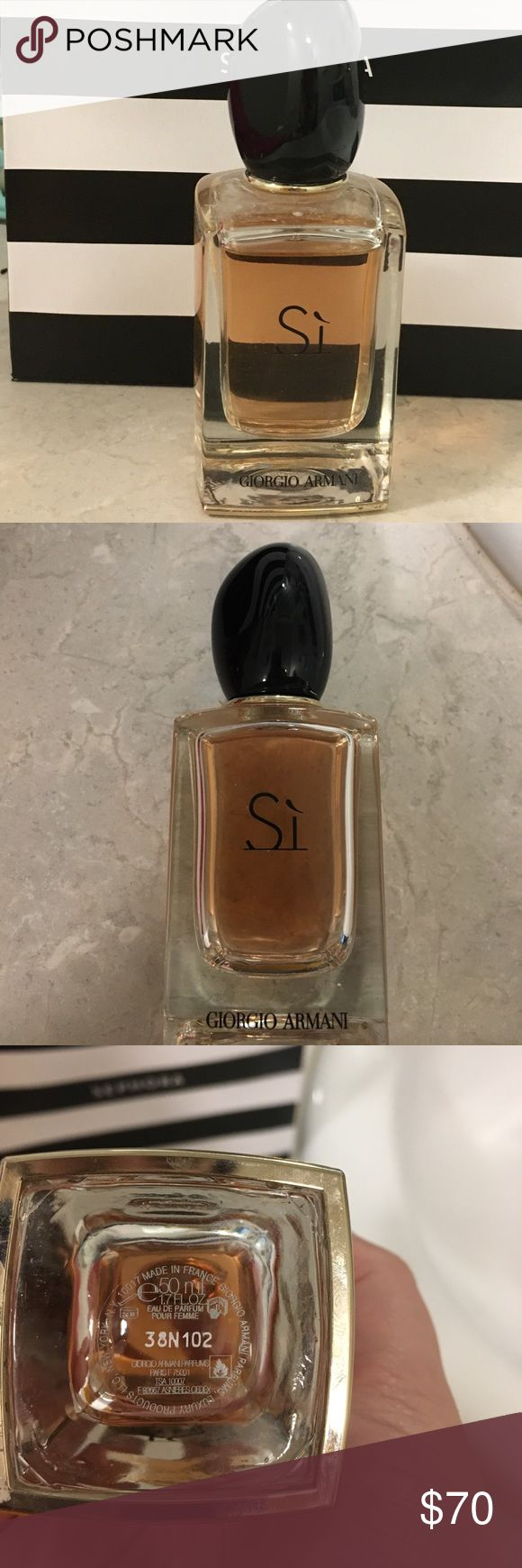 Giorgio Armani Sí Perfume 1.7 Fl. Oz. Giorgio Armani Sí Perfume - 1.7 Fl oz - retails for $92 - used only a few times - love the smell but isn't my go to - no longer have the box   Sì Eau de Parfum is a tribute to modern femininity, an irresistible combination of grace, strength, and independent spirit. A modern chypre reinvented, Sì opens with deep blackcurrant nectar that softly recedes to airy florals. A base of musky blond wood adds lightness while grounding the fragrance for a…