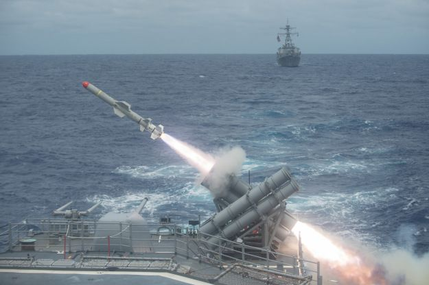 A Harpoon missile is launched from the Ticonderoga-class guided-missile cruiser USS Shiloh (CG-67) during a live-fire exercise on Sept 15, 2014. US Navy Photo.