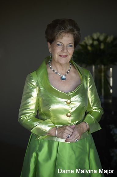Dame Malvina Major wearing her Wild Jewels Tidal Marina Necklace and earrings.  This stunning international opera diva has several pieces from the Wild Jewels collection that have been worn on stage during her sellout performances.